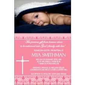 Communion / Baptism Photo Invitation 2 - Pink