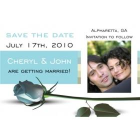 Blue Rose Save the Date Photo Invitation