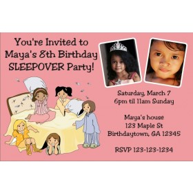 Slumber Party / Sleepover Photo Invitation - Choose a background color