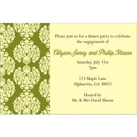 Olive and Cream Damask Invitation