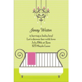 Cute Crib Baby Shower Invitation - Green