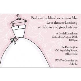 Delightful Dress Bridal Shower Invitation Pink