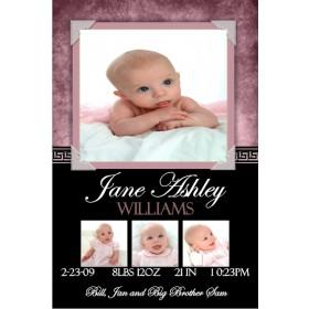 Newborn Baby Birth Announcement 5 (pink)