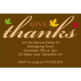 Give Thanks Fall Autumn Thanksgiving Card Invitation