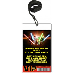 Lego Star Wars VIP Pass Party Invitation with Lanyard