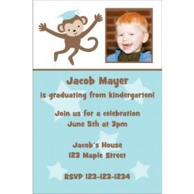 Graduation Monkey Photo Invitation - Blue