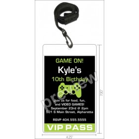 Video Game VIP Pass Invitation with Lanyard - Select Color