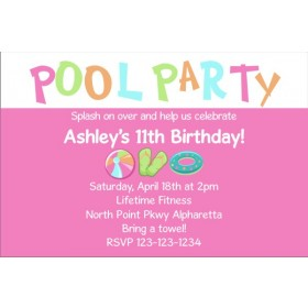 Pool Party Invitations 3 - Pink
