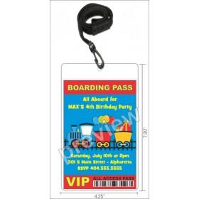 Choo Choo Party Train VIP Pass Invitation w Lanyard
