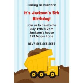 Dump Truck Construction Invitation - Calling Builders