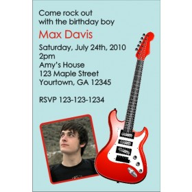 Electric Guitar Photo Invitation 2 - Blue and Red