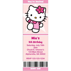 Hello Kitty Ticket Style Invitations (slim style)