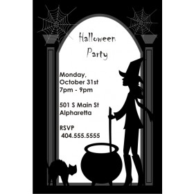Witch Silhouette Halloween Party Invitation