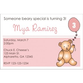 Teddy Bear with Pink Balloon Invitation