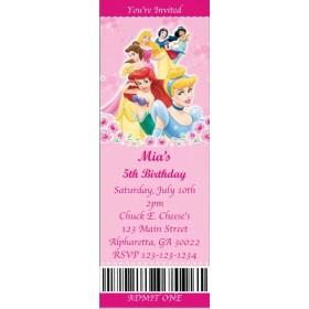 Disney Princess Ticket Style Invitations (slim style)