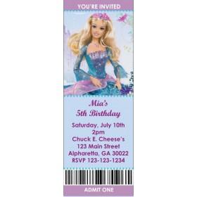 Barbie Princess Ticket Style Invitations (slim style)