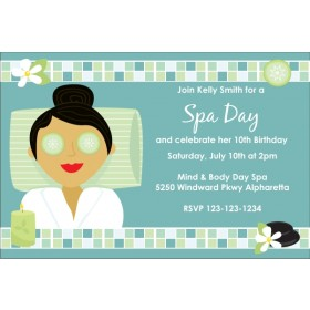 Spa Day Birthday Invitation - Choose a Skin Tone / Hair Color