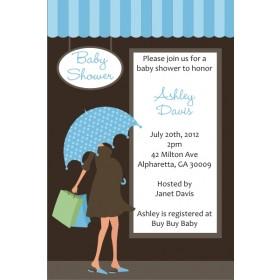Shopping Mama Baby Shower Invitation - Blue