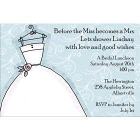 Delightful Dress Bridal Shower Invitation Blue