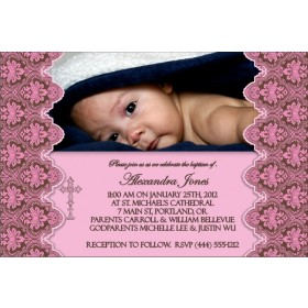 Communion / Baptism Photo Invitation 3 - Pink
