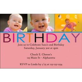 Birthday Photo Invitation (Pink)
