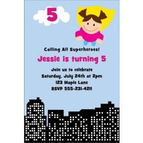 Superhero Birthday Invitation 4 - Girl