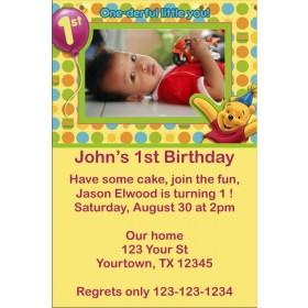 Winnie the Pooh First Birthday Photo Invitation