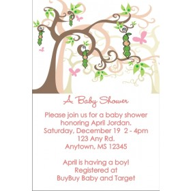 Peas in a Pod Baby Shower Invitations (Pink)