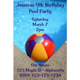 Pool Party Invitations - Beach Ball
