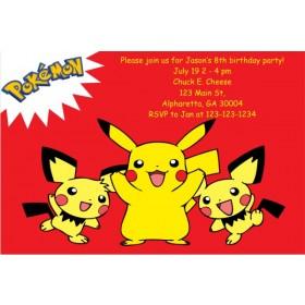 Pokemon Invitations - Pikachu Red
