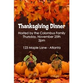 Two Turkeys Thanksgiving Fall Autumn Dinner Invitation