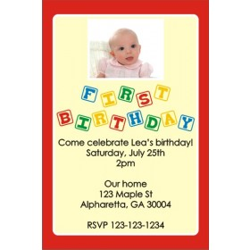 1st (First) Birthday Photo Invitation (Blocks) ALL COLORS