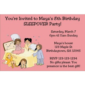 Slumber Party / Sleepover Invitation - Choose a background color