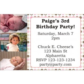 Photo Invitation 12 (Pink and Brown Dots)