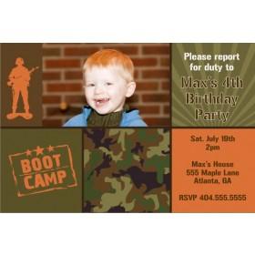 Army Military Boot Camp Photo Birthday Invitation
