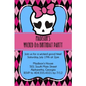 Monster High Inspired Girly Skull Invitation