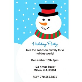 Icy Snowman Holiday Christmas Party Invitation