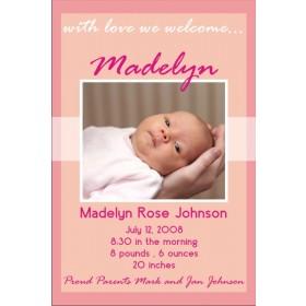 Newborn Baby Birth Announcement 2 (pink)