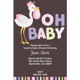 Oh Baby Stork Shower Invitation - Pink