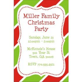 Christmas Stripes Holiday Party Invitation