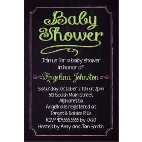 Baby Shower Chalkboard Style Invitation - Custom Colors