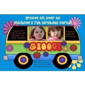 60s Retro Groovy Bus Photo Party Invitation