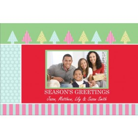 Trees and Stripes Christmas Holiday Photo Card