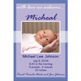 Newborn Baby Birth Announcement 2 (blue)
