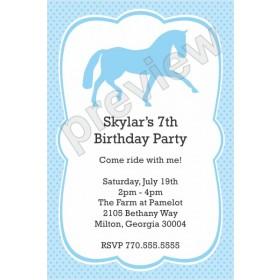 Horse Birthday Party Invitation - Custom Color
