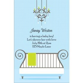 Cute Crib Baby Shower Invitation - Blue