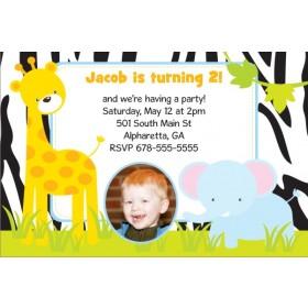 Jungle Fun Photo Invitation  - Giraffe and Elephant
