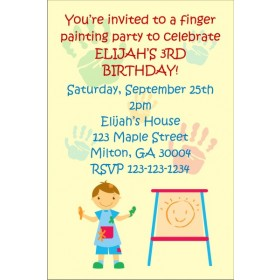Finger Painting Party Invitation Boy or Girl