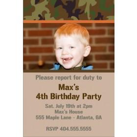 Army Military Camouflage Photo Birthday Invitation