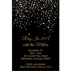Star Confetti Christmas Holiday New Years Eve Party Invitation
